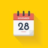 Calendário do dia com data o 28 de novembro de 2017 Ilustração do vetor Fotografia de Stock Royalty Free