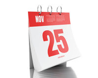 calendário do dia 3d com data o 25 de novembro de 2017 Foto de Stock Royalty Free