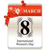 Calendário do dia das mulheres Fotografia de Stock Royalty Free