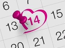 Calendário do dia de Valentim Foto de Stock Royalty Free