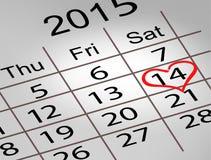 Calendário do dia de Valentim 14 de fevereiro do dia de Valentim de Saint Foto de Stock