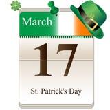 Calendário do dia do St Patricks Fotos de Stock