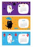 Calendário 2017 do gato horizontal Jogo de caracteres engraçado bonito dos desenhos animados ilustração stock
