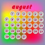 Calendário do mês de calendário Fotos de Stock Royalty Free