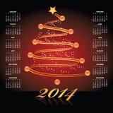 Calendário 2014 do Natal Imagens de Stock Royalty Free
