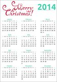 calendário 2014 do Natal Imagem de Stock