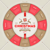 Calendário 2015 do Natal Imagem de Stock Royalty Free