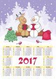 Calendário 2017 do Natal Imagens de Stock Royalty Free