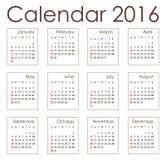 Calendário 2016 do planeamento Fotografia de Stock