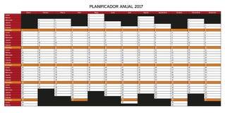 Calendário do planeamento do ano para 2017 no espanhol - anuário de Planificador Fotografia de Stock