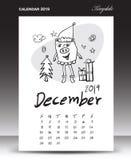 Calendário do porco para 2019, rotulando o calendário, em dezembro de 2019 molde, ilustração desenhado à mão do vetor dos desenho ilustração do vetor