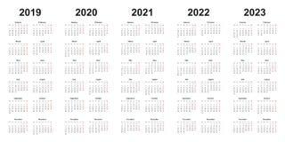 Calendário do projeto simples com anos 2019, 2020, 2021, 2022, 2023 ilustração stock
