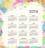 Calendário do respingo 2014 da tinta ilustração do vetor