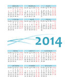 Calendário do russo 2014 do bolso Fotografia de Stock Royalty Free