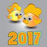 Calendário do símbolo de duas flores dos galos de 2017 Imagens de Stock Royalty Free