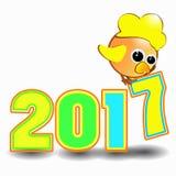 Calendário 2017 do símbolo do galo da figura Fotos de Stock