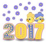 Calendário 2017 do símbolo do galo da figura Fotos de Stock Royalty Free