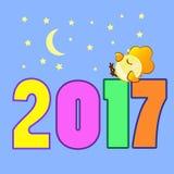 Calendário 2017 do símbolo do galo da figura Foto de Stock Royalty Free