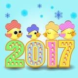 Calendário 2017 do símbolo do galo da figura Imagem de Stock