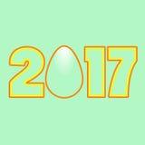 Calendário 2017 do símbolo do ovo da figura Foto de Stock