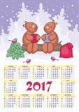 Calendário 2017 do urso Imagem de Stock