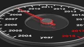 Calendário do velocímetro no fundo preto 3d rendem filme