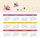 Calendário 2018 do vetor com pássaro A semana começa domingo ilustração royalty free
