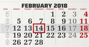 Calendário do vetor de fevereiro de 2018 Imagens de Stock