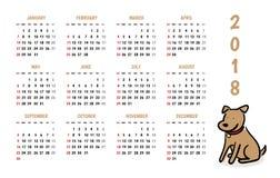 calendário do vetor do ano novo de 2018 cães com estilo bonito dos desenhos animados da garatuja ilustração stock