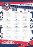Calendário 2018 do vetor para o futebol ou o futebol Fotos de Stock Royalty Free