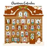 Calendário doce do advento do Natal de dezembro com datas e vetor tradicional da decoração ilustração stock