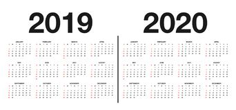 Calendário 2019 e molde 2020 Calendar o projeto nas cores preto e branco, feriados em cores vermelhas ilustração royalty free