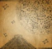 Calendário e pirâmide maias Imagem de Stock Royalty Free