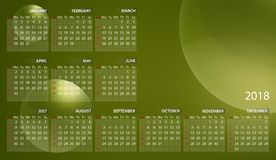 Calendário 2018 em inglês Começos da semana em domingo Bolhas no fundo verde-amarelo ilustração stock