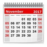 Calendário - em novembro de 2017 ilustração do vetor