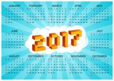calendário 2017 em um fundo azul no estilo de jogos de vídeo de 8 bits velhos A semana parte de domingo Letras olorful do pixel 3 Foto de Stock
