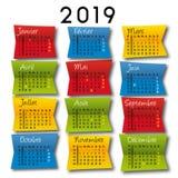 calendário 2019 em uma decoração de papel colorida Fotos de Stock
