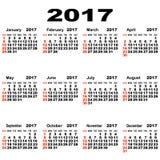 Calendário europeu de 2017 Imagem de Stock