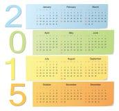 Calendário europeu 2015 do vetor da cor Fotografia de Stock Royalty Free