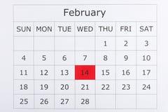 Calendário feriado dia do ` s do Valentim do 14 de fevereiro Imagens de Stock