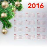 Calendário festivo do ano novo para 2016 Imagens de Stock