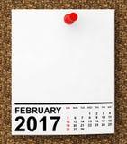Calendário fevereiro de 2017 rendição 3d Imagens de Stock