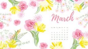 Calendário floral 2018 do vintage Foto de Stock