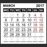 Calendário folha março de 2017 Fotos de Stock