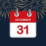 Calendário fundo vermelho do fogo de artifício do ano novo do 31 de dezembro ilustração do vetor