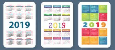 Calendário 2019 Grupo colorido Começos da semana em domingo Grade básica Imagens de Stock