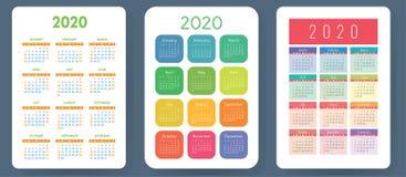 Calendário 2020 Grupo colorido do vetor Coleção do calendário do bolso Começos da semana em domingo Molde da grade básica para a  ilustração do vetor