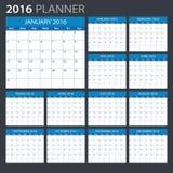 2016 calendário - ilustração Fotografia de Stock Royalty Free