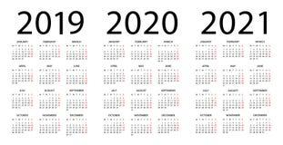 Calendário 2019 2020 2021 - ilustração Começos da semana em segunda-feira ilustração stock