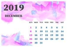 Calendário ilustração do vetor da aquarela do dezembro de 2019 Mergulha a GR ilustração royalty free